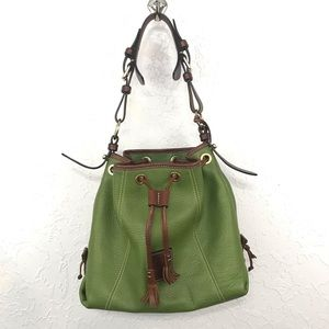 Dooney & Bourke Green Pebbled Leather Bucket Bag